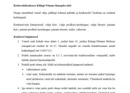 Koduveinikonkurss Kilingi-Nõmme linnapäevadel!